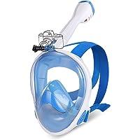 IMMEK Máscara de Buceo Doble Antivaho 180 ° Vista Panorámico Cara Completa Respirar Gafas Snorkel Anti-Fugas Retirable…