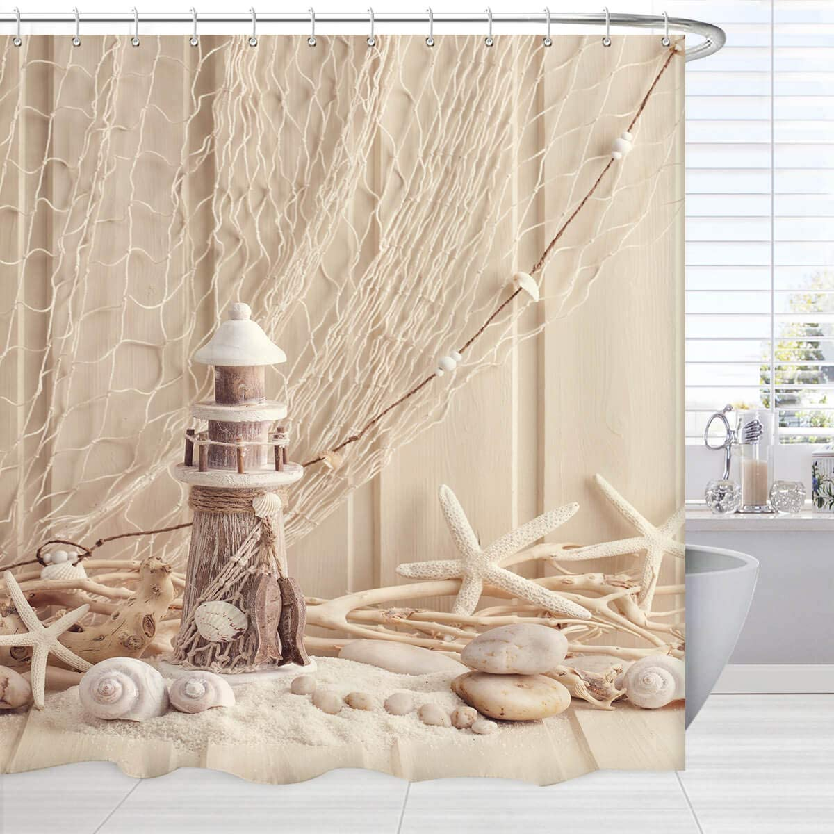 BROSHAN Nautical Decor Shower Curtain Extra Long, Coastal Sea Shell Fishing Net Lighthouse Starfish Ocean Beach Theme Bath Curtain Beige, Marine Fabric Bathroom Decor Set, 84 Inches Long
