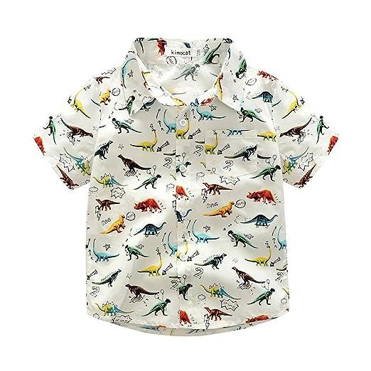 1a97b16bd Winsummer Kids Toddler Boys Summer Classic Button Down Shirt Short Sleeve  Dinosaur Print Tops Gentleman Blouse