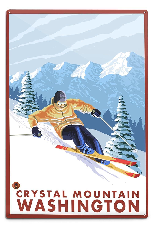 滑降雪スキーヤー – クリスタルマウンテン、ワシントン 12 x 18 Metal Sign LANT-14190-12x18M 12 x 18 Metal Sign  B06Y1DBFLX