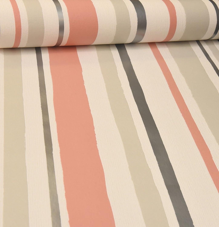 Rasch Stripe White Peach Grey Silver Wallpaper Textured Vinyl 886238 Paste Wall