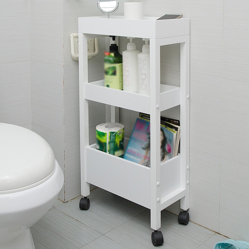 WAN SAN QIAN- Shelf Home Economy Thickened Wooden Bathroom Shelves Kitchen Shelves Multi-storey Floor Storage Racks Toilet Shelves 40x28.8x81.5cm Shelf