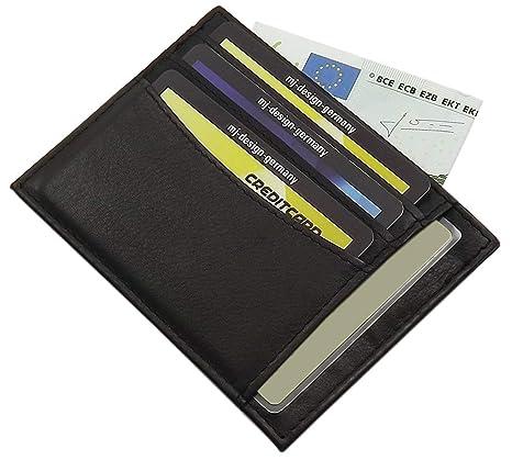 Extra plano XL cuero de becerro tarjetero para documento de identidad y tarjeta de crédito MJ-Design-Germany en diferentes colores (Negro)