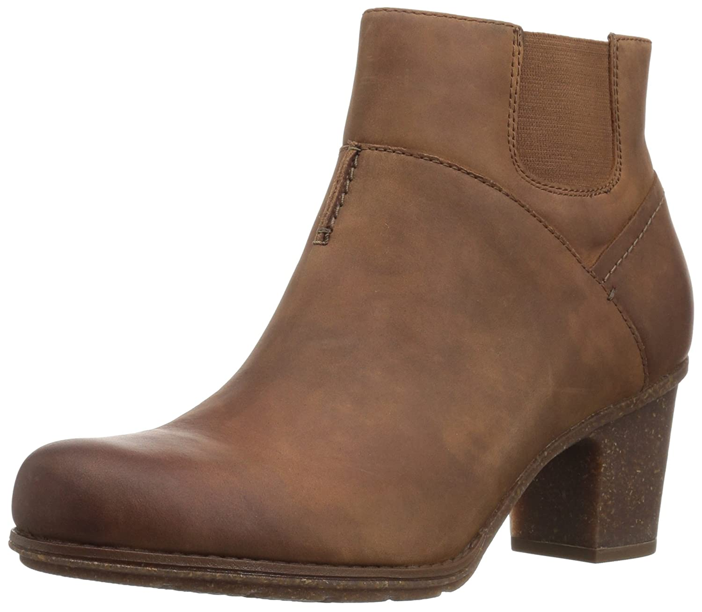 CLARKS Women's Sashlin Vita Ankle Bootie B01MYY67AH 5.5 B(M) US|Dark Tan Leather