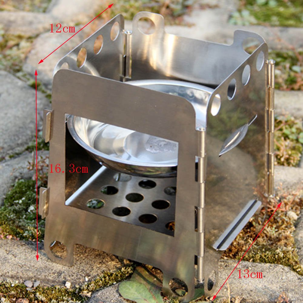 Amazon.com : Docooler® Portable Stainless Steel Lightweight Folding Wood  Stove Pocket Alcohol Stove Outdoor Cooking BBQ Camping Backpacking : Sports  & ... - Amazon.com : Docooler® Portable Stainless Steel Lightweight