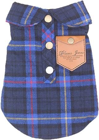 Yhjklm Ropa para Mascotas Camisas para Ropa de Perro de Mascota Camisa de Traje de patrón de Enrejado de algodón Suave para Perrito Atractivo (Color : Azul, tamaño : XS): Amazon.es: Hogar