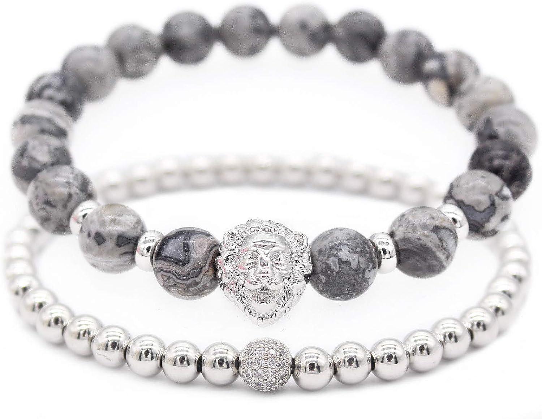 """GEMFEEL Gold Lion Head Bracelet Set 8mm Black Onyx Stone Men Bracelets 7.6"""""""