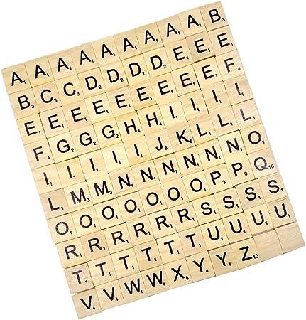 100pcs De Letras Negras Z Madera Azulejos Rompecabezas Alfabetos Artesanía De Mesa: Amazon.es: Ropa y accesorios