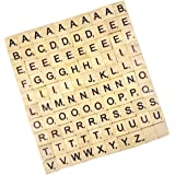 100pcs Lettres en Bois Noirs de Puzzle Alphabets A à Z Tuiles Scrabble Conseil Artisanat