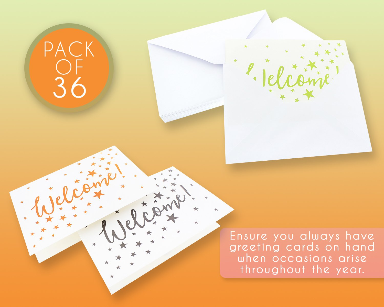 36 Assorted Pack Welcome Note Cards Bulk Box Set Blank On The