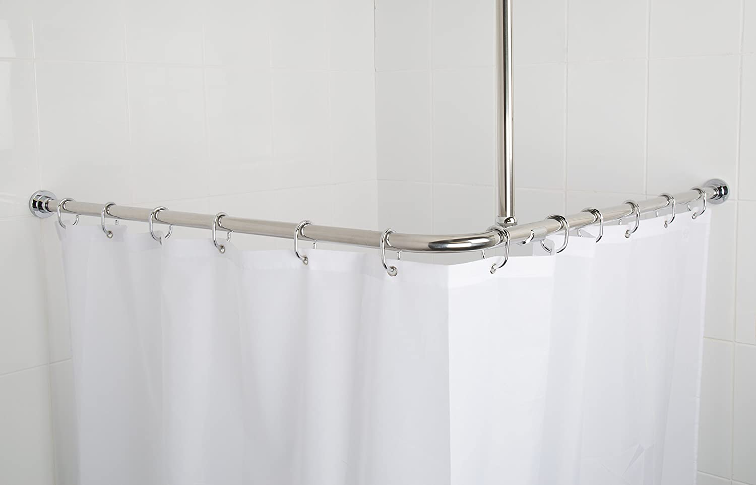 Croydex Superline Stainless Steel Modular Shower Rod Kit with Ceiling Support and Curtain Rings Can Be Fitted L-Shaped Large L-Shaped U-Shaped or Straight