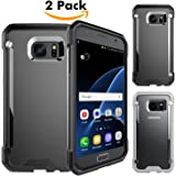 Samsung Galaxy S7 Case Unives [2-Pack] **NEW** ( 1 Black + 1 Grey ) Frosted Series Ultra Thin Anti-Scratch Protective Case with Matte PC Hard Plastic back cover and Rugged Soft TPU Gel Bumper