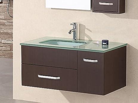 Design Element Christine Wall Mount Single Sink Vanity Set, 35 Inch
