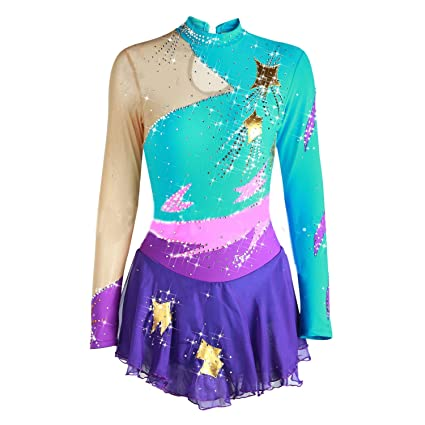 793fe3357a3286 NYW Handmade Figure Skating Dress for Girls, Ice Skating Competition  Professional Costume with Crystals Long