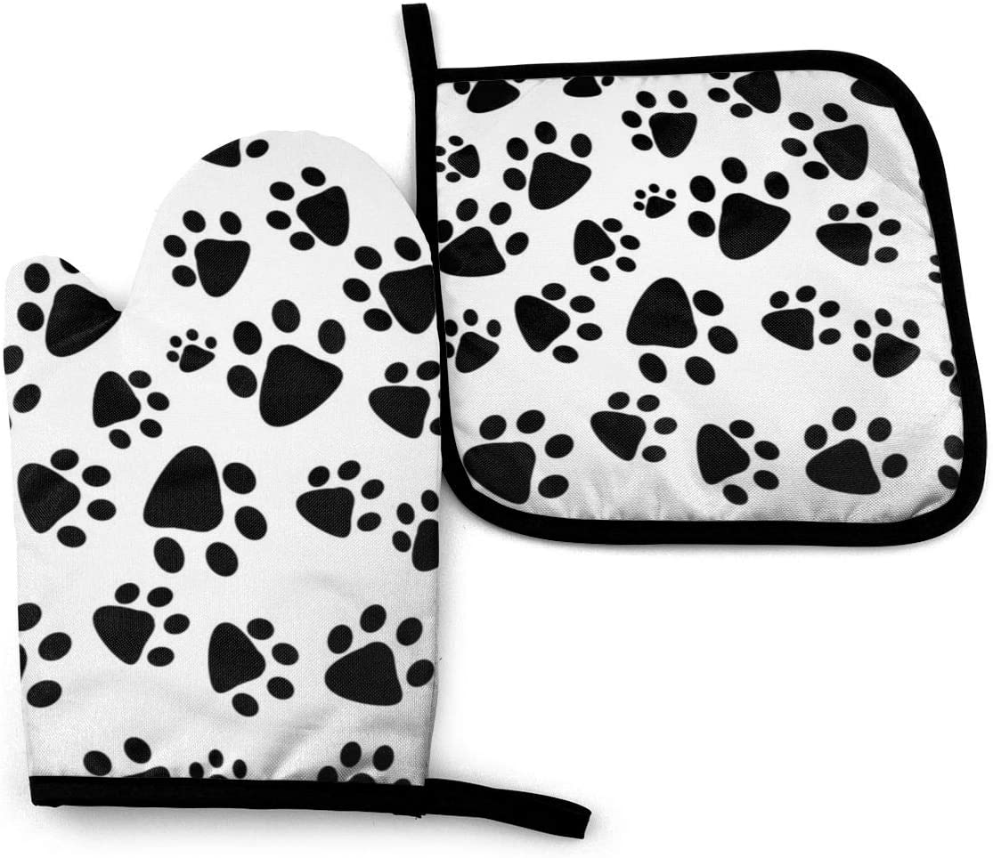 Oven Mitts and Pot Holders Set,Cat and Dog Paw Prints Washable Heat Resistant Kitchen Non-Slip Grip Oven Gloves for Microwave BBQ Cooking Baking Grilling