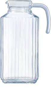 Circleware 66550 Frigo Ribbed Glass Beverage Drink Pitcher with Lid and Handle, 63.4 Ounce, Limited Edition Glassware Drinkware Water Juice Dispenser, 63.4 oz