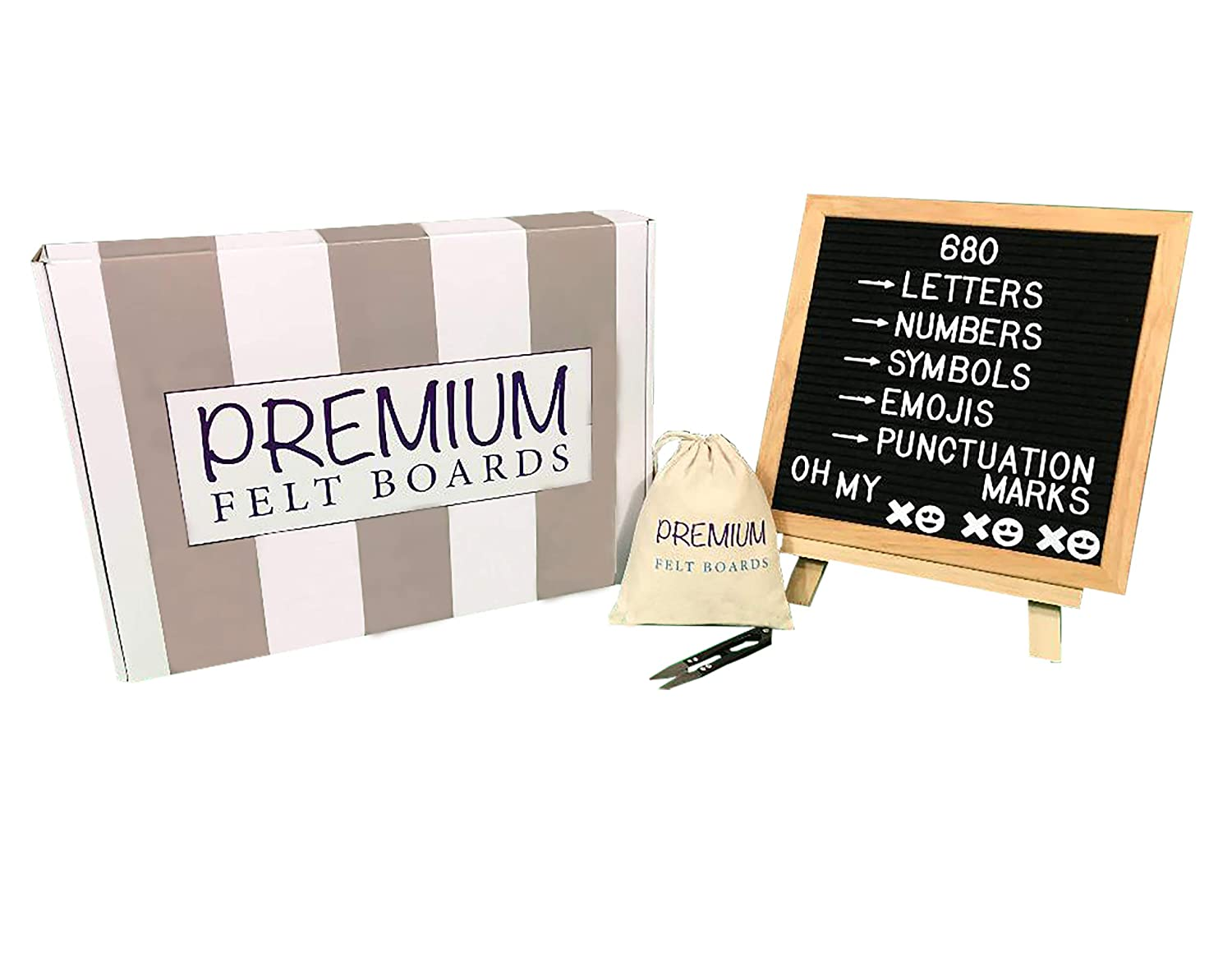 Black Felt Letter Board 10x10 inches with Stand - 680 White Plastic Changeable Letters and Characters - Premium Quality Premium Felt Boards