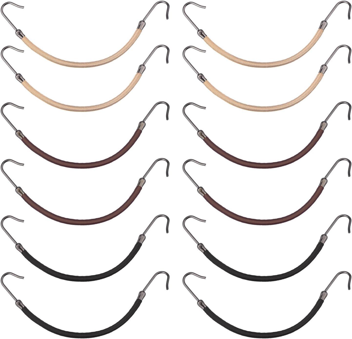 15 Piezas de Banda Elástica Ganchos de Cola de Caballo de Peinado, Negro, Marrón y Rubia