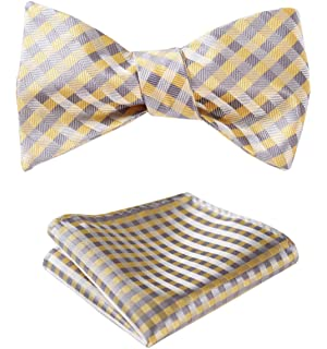 d7bfddc116a6 HISDERN Men's Plaid Check Bowtie Woven Self Tie Bow tie and Pocket Square  Set