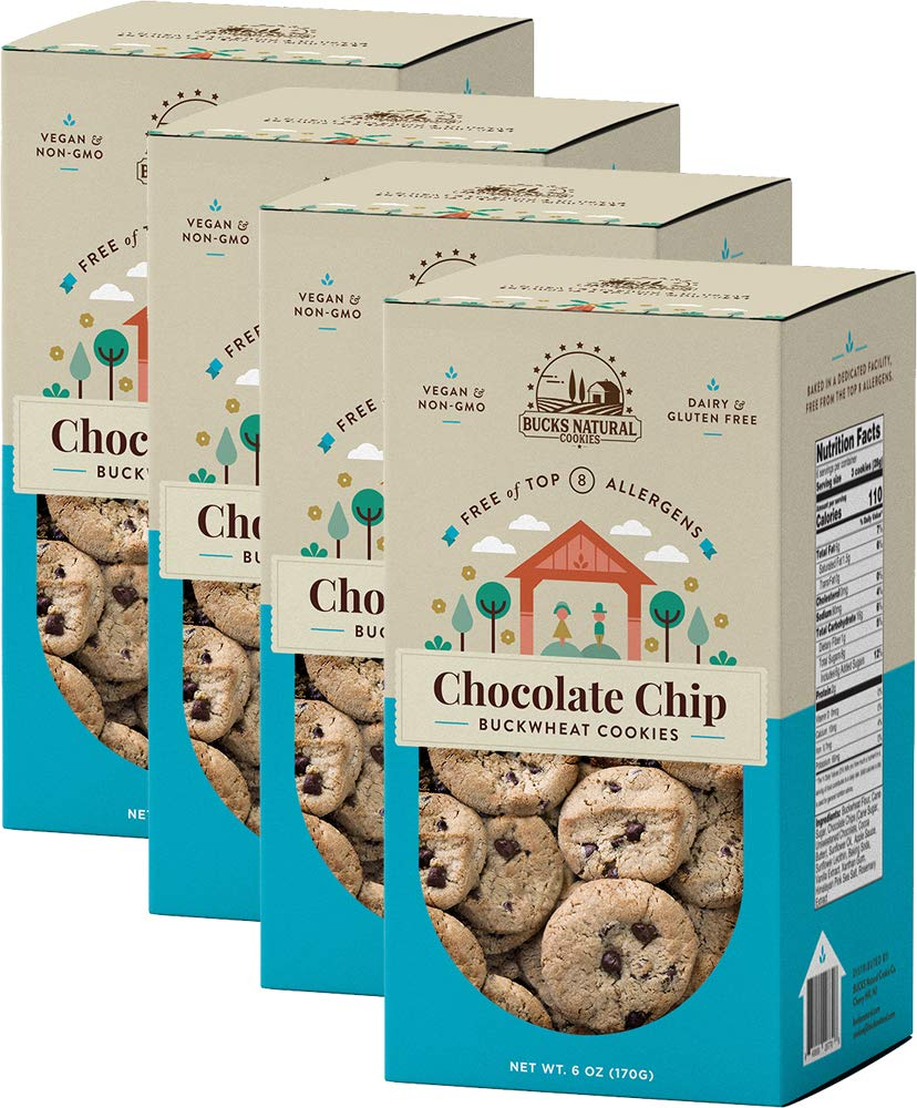 THE BEST TASTING GUILT-FREE COOKIE! BUCKWHEAT CHOCOLATE CHIP COOKIES 6 oz each (4 Pack), ALLERGY FREE, GLUTEN FREE, NON GMO, VEGAN, DAIRY FREE, NUT FREE, SCHOOL SAFE