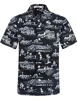 2d96f2ef ELETOP Mens Hawaiian Shirt Short Sleeve Flower Casual Shirts Aloha Shirt  for Beach Party Holiday