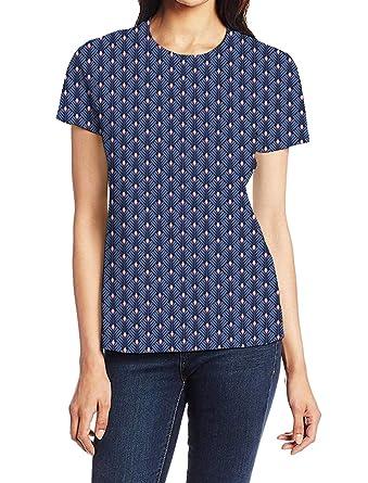 c8b19f4e3a4 ZOE GARDEN Short Sleeve Round Neck T-Shirt, Dark Blue Geometric ...