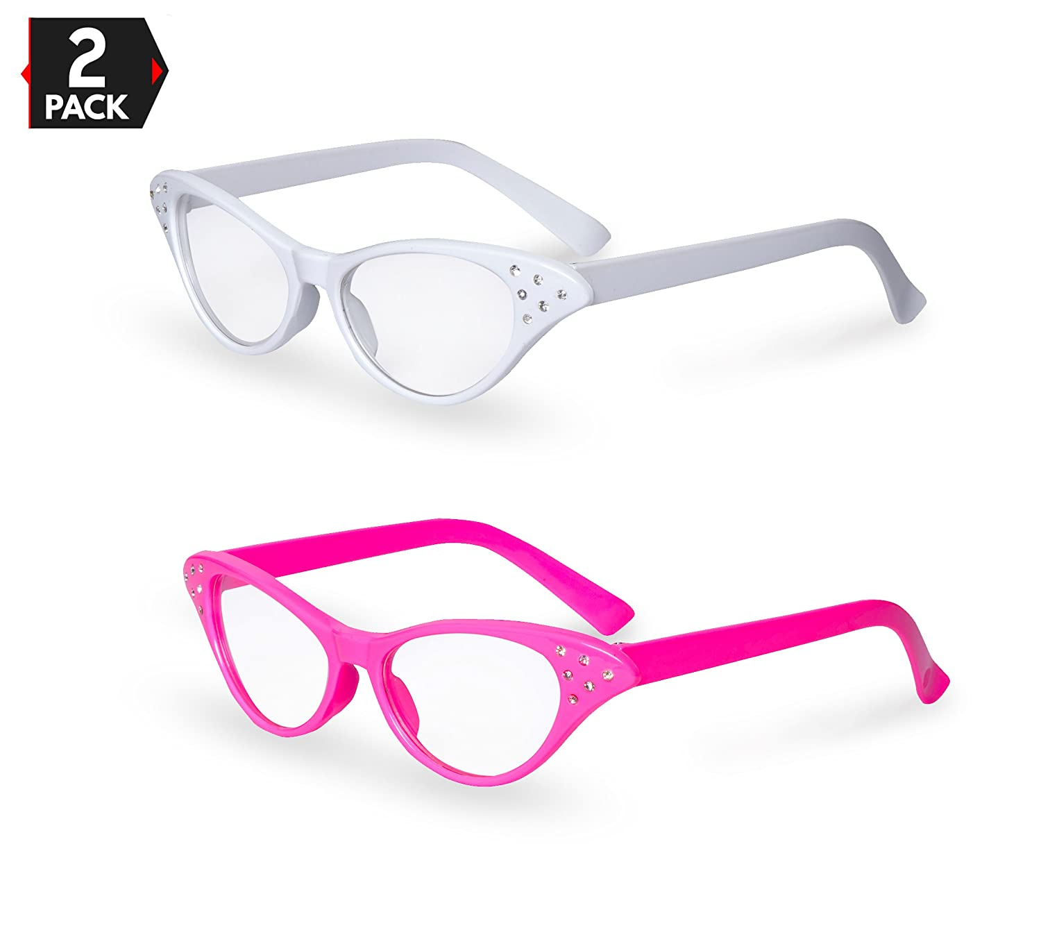Pink / White Cat Eye Retro Costume Dress Up Hip Hop Rhinestone Glasses (2 Pack)