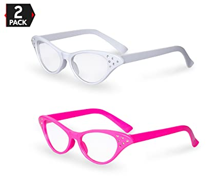 fa62b0a8b3 Image Unavailable. Image not available for. Color  Pink   White Cat Eye  Retro Costume Dress Up Hip Hop Rhinestone Glasses ...