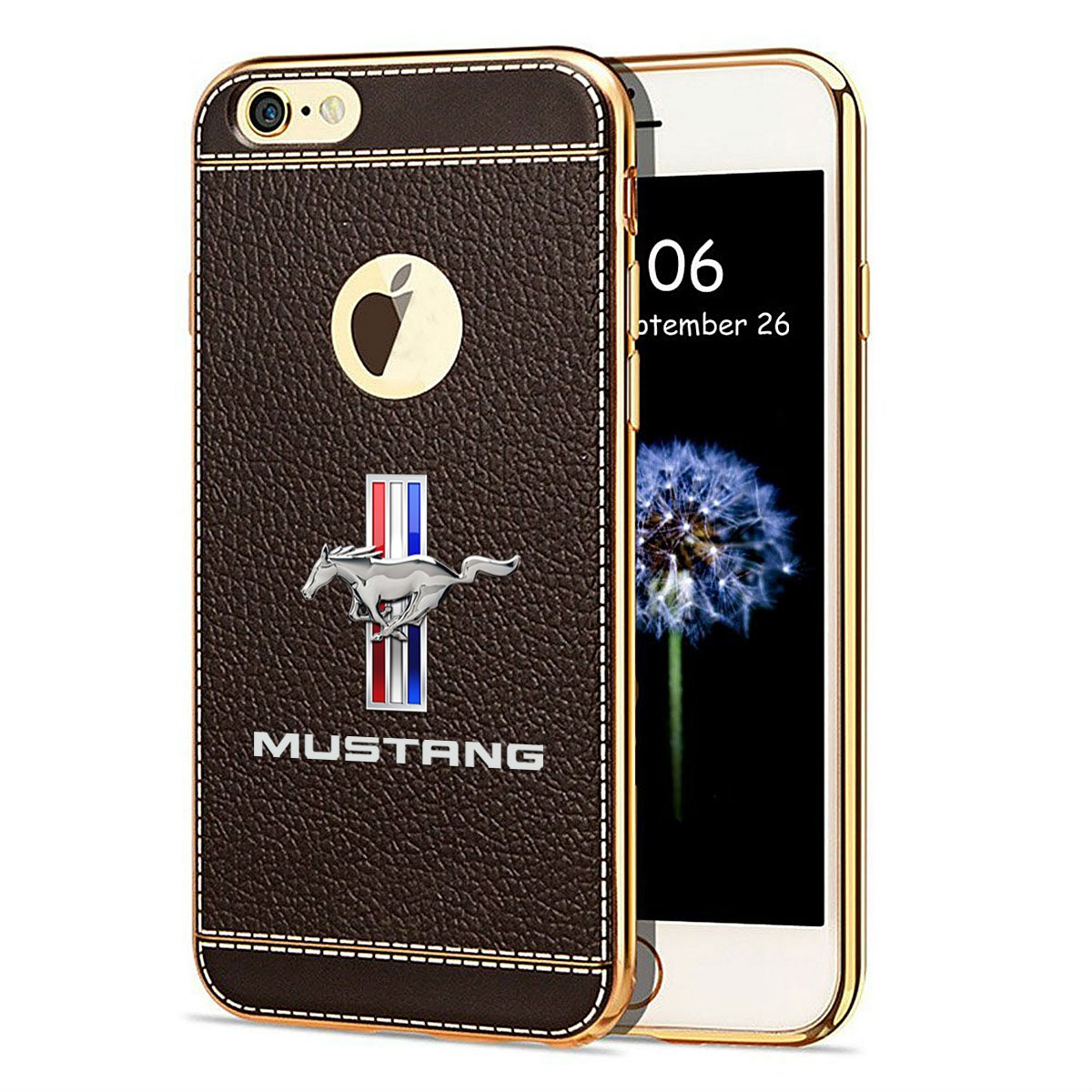 Amazon com iphone 7 case ford mustang tri bar tpu brown soft leather pattern tpu cell phone case cell phones accessories