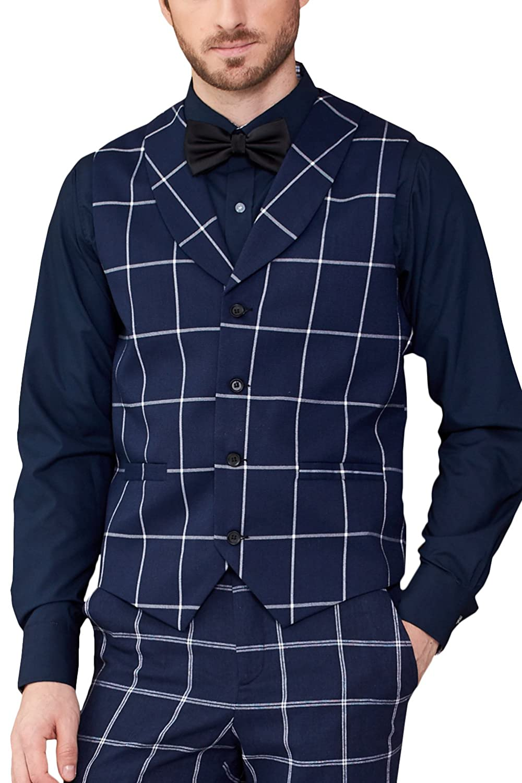 Hanayome Men Waistcoat Shawl Collar Sleeveless Slim Fit Jacket Business Suit Vests VS30