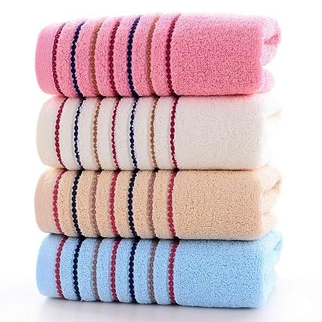 SYXLTSH Toalla algodón hogar 4 Piezas Adulto Suave Grueso Absorbente Toalla Facial marrón + Rosa