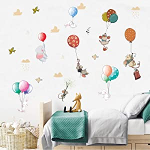 Balloon Flying Animals Wall Decals, Cute Elephant Rabbit Bird Wall Stickers, DILIBRA Watercolor Removable Peel and Stick Cartoon Vinyl Wall Decor for Kids Boy Gir Nursery Bedroom Living Room