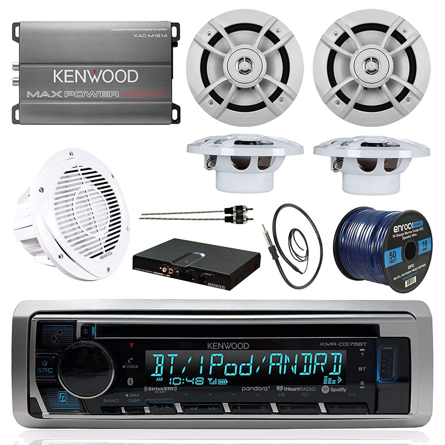 amazon com boat sound system package kenwood marine bluetooth car stereo wiring diagram boat sound system package kenwood marine bluetooth receiver kenwood compact 4 ch amp, 4 6 5 inch marine speakers kenwood 10\