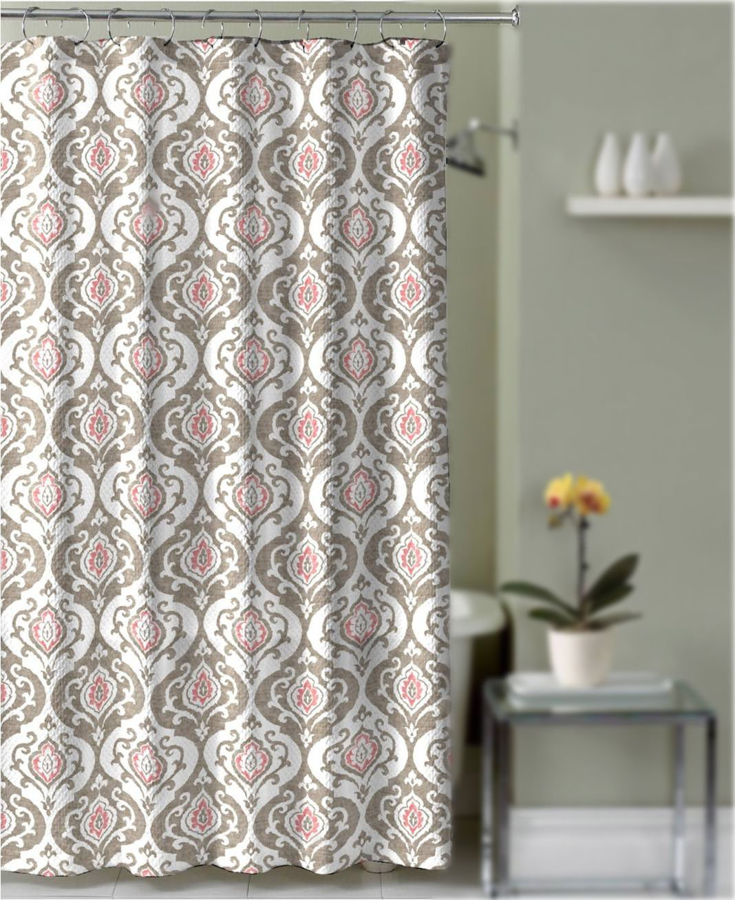 Shower Curtain Taupe and Coral Damask Medallion Decorative Fabric Bathroom