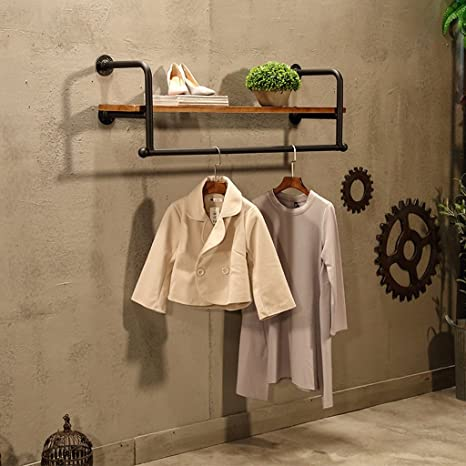 Amazon.com: COAT RACK Vintage Iron Solid Wood Hook Wall Rack ...