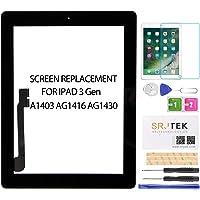 SRJTEK - visualización táctil de Repuesto para iPad 3 de 3ª generación A1416, A1403 y A1430, Incluye botón de Inicio, calcomanía, Vidrio Templado, Negro