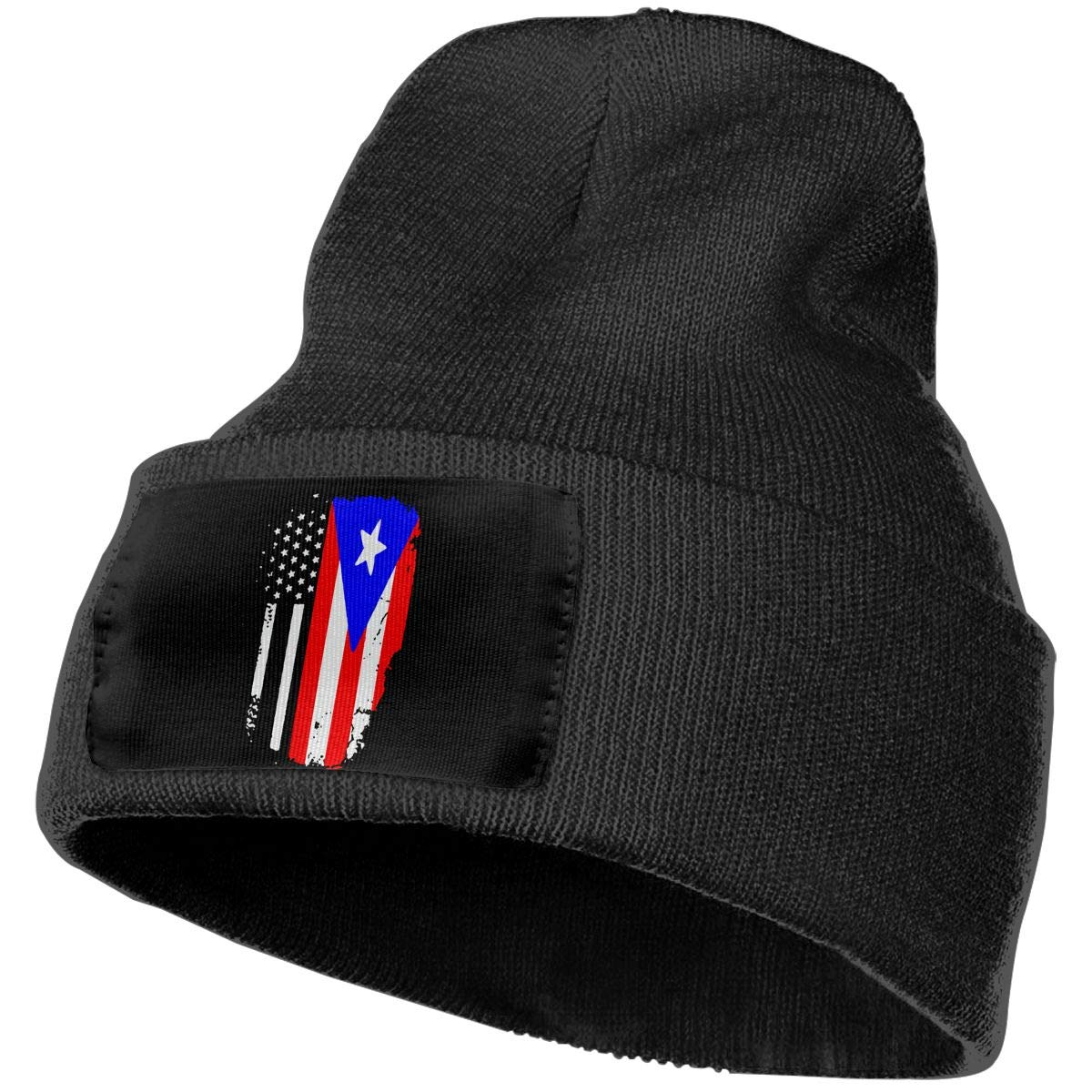 Unisex Flag of Puerto Rico Outdoor Stretch Knit Beanies Hat Soft Winter Skull Caps