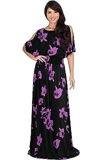 KOH KOH Womens Long Short Sleeve Printed Summer Sexy Casual Sundress Maxi  Dress 0f0ca777b