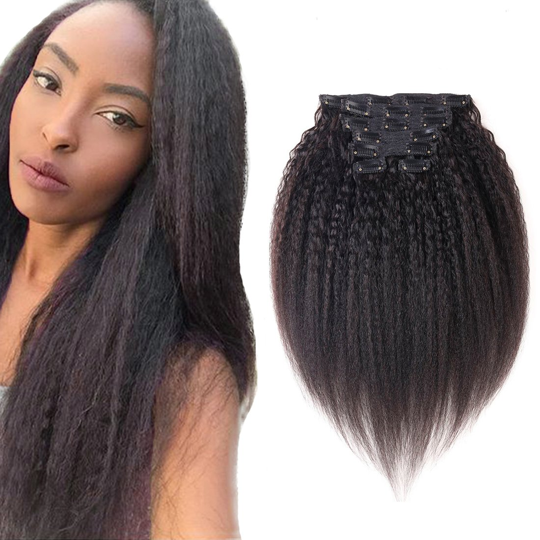 Amazon Good Quality Kinky Yaki Straight Clip In Human Hair