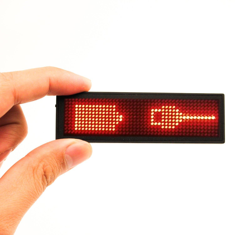 Gugutogo LED programmabile Scrolling Name Messaggio Badge Tag Digital Display Inglese