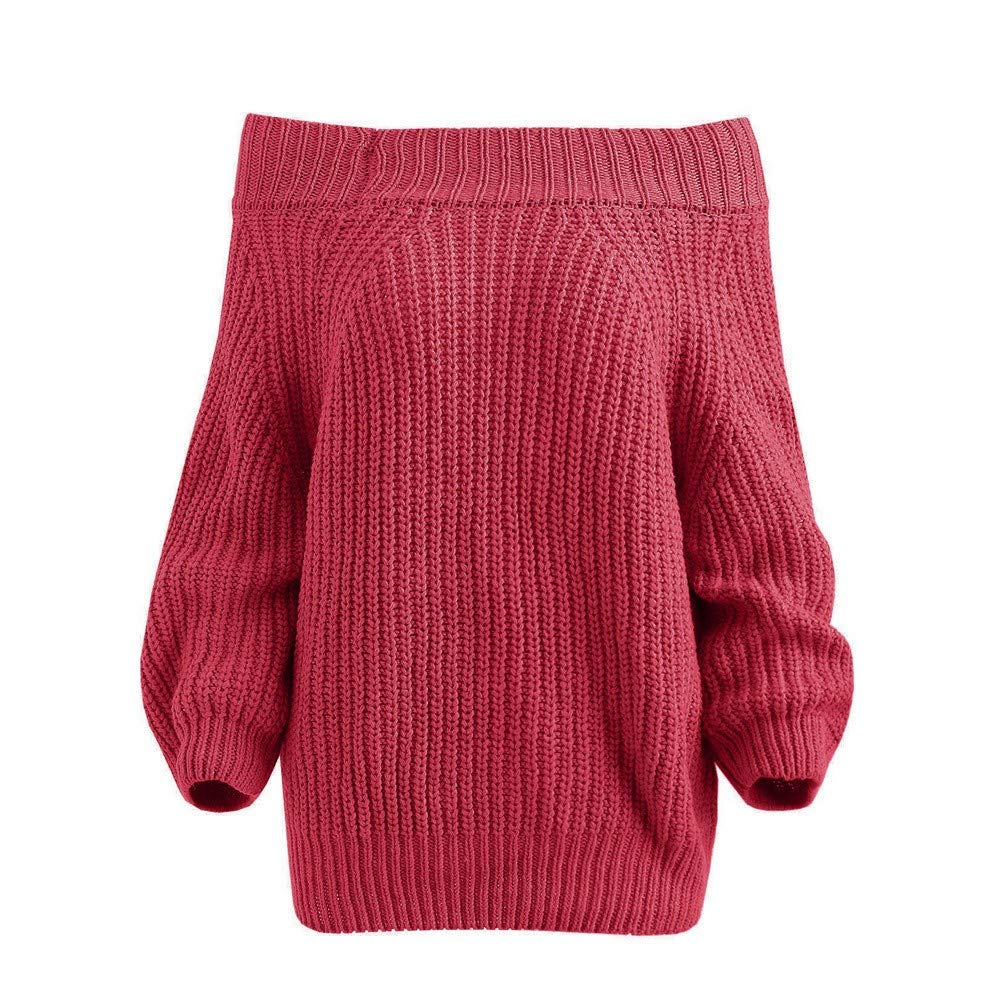 Autumn Winter 2018 Sale Clearance Women Vogue Off Shoulder Pullover Chunky Sweater Top Knitted Sweater Blouse FW