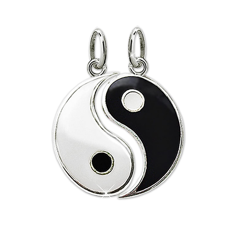 CLEVER SCHMUCK 2 Silberne Partneranhänger geteilt Yin Yang Ø ca. 15 mm schwarz und weiß lackiert glänzend STERLING SILBER 925 ahs3507-geteilt
