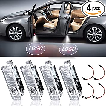 LED Car Door Light Projector Courtesy LED Laser Welcome Logo Lights Lamps Accessories Compatible with A1 A3 A4 A5 A6 Q3 Q7 A7 A8 R8 TT(4PACK)