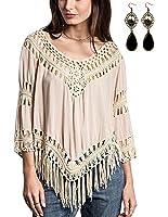 Sitengle Damen Shirt Netzshirt Bluse V-Ausschnitt Umhang Quaste Hippie Poncho Boho Mini Kleider Stickshirt Tops Hoody Jumper