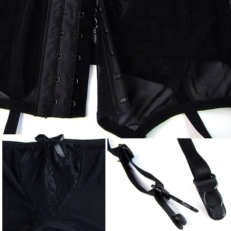 Faith Wings Femme Porte-Jarretelles en Dentelle Taille Haute Creux-Out /Évider Ceinture de Jarreti/ère avec G-String Grande Taille