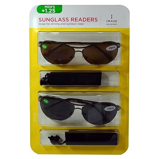 c4e103c1f1 2-Pack Image Men s Sunglass Bifocal Readers +1.25 (Brown and Black Aviator)