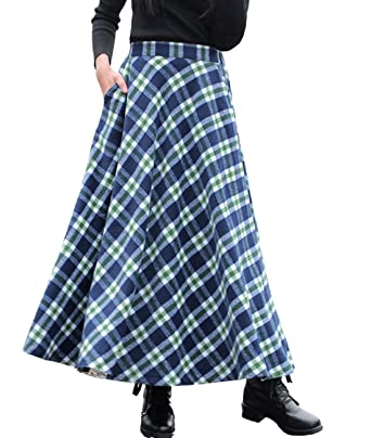 e12c1230a2 Femirah Women's Blue Elastic Waist A Line Long Maxi Woolen Plaid Skirt  (Length 80cm/