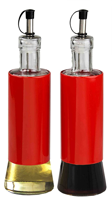Home Basics Essence Collection 2-Piece Glass Oil and Vinegar Cruet Set, Red