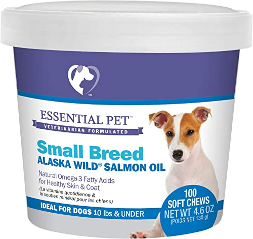 Essential Pet 27908 Small Breed Dog Alaska Wild Salmon Oil Soft Chews with Natural Omega-3 Fatty Acids, Brown
