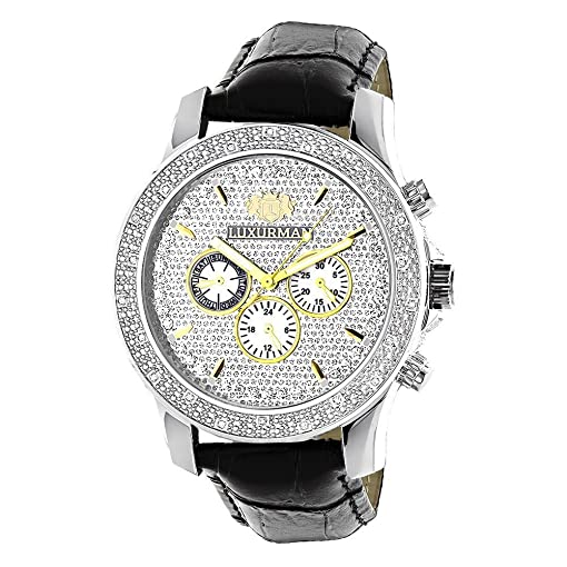 luxurman watch iced mens amazon out watches dp diamond ca